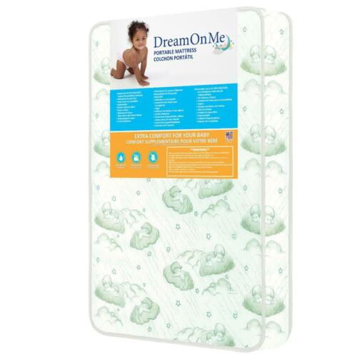 "New Dream On Me 3"" Foam Play Yard Mattress w/waterproof cover easy clean"