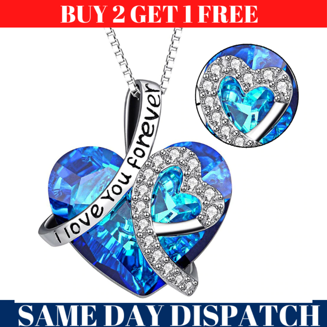 Jewellery - Heart Crystal Pendant 925 Silver Plated Chain Necklace Womens Ladies Jewellery