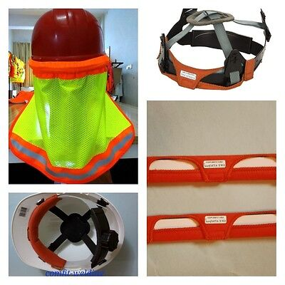 2 Weldas Sweatsopads Sweat Band Hard Hat Neck Shield Helmet Reflective Stripe