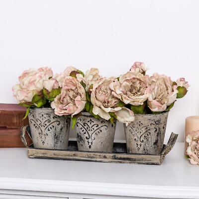 Set of 3 Grey Plant Pots Tray Ornate Shabby Vintage Chic Flower Accessory Home
