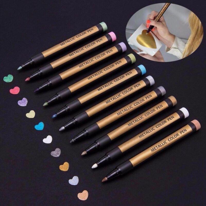 8 Colors Set Paint Marker Pens Metallic Sheen Glitter Callig