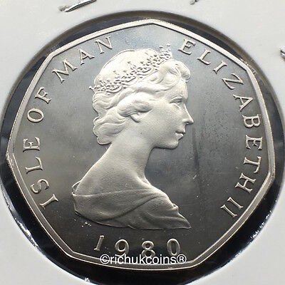 1980 IOM Xmas 50p Diamond Finish Coin with BF die marks