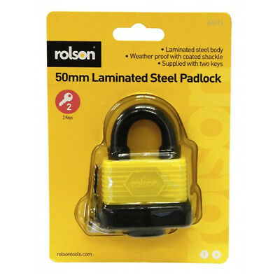 50mm Weatherproof Heavy Duty Laminated Steel Padlock Key Shed Door Rolson 66514