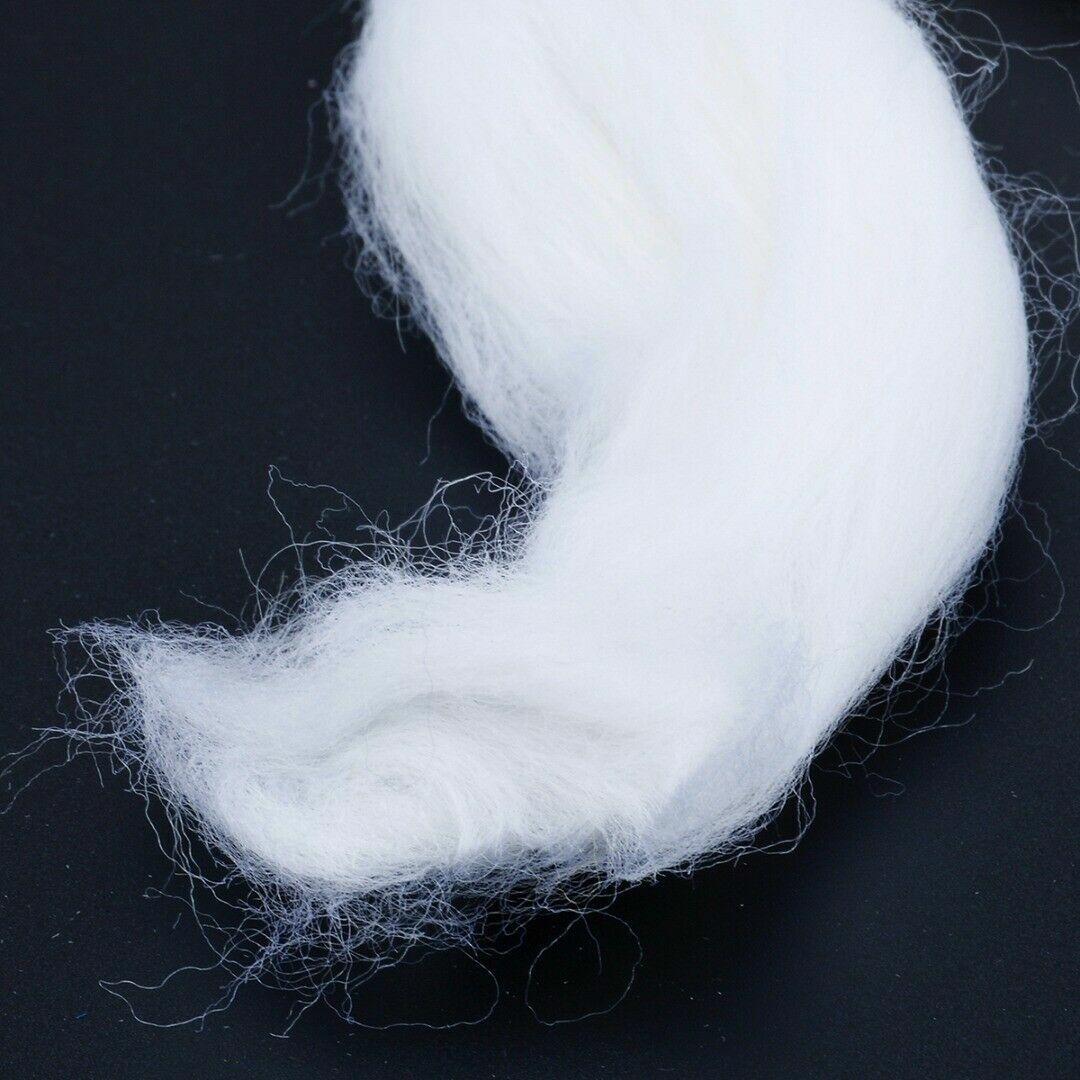 как выглядит 50g Soft White Dyed Wool Tops Roving Wool Fibre For Needle Felting Felt Tool S фото