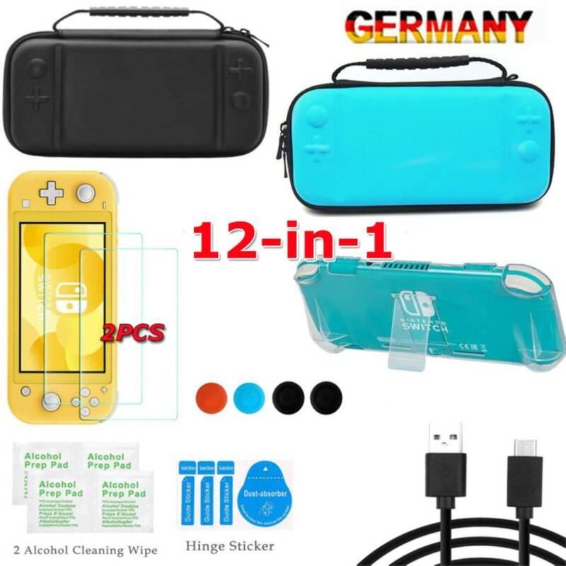 Für Nintendo Switch Lite 12in1 Tasche Bag EVA Case+Schutzhülle+Temperglass Folie