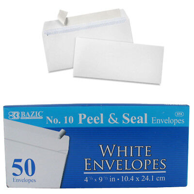 50 Self Sealing Envelopes 10 Mailing Letter White Shipping Postal Peel Seal C17