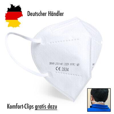 10x Hochwertige FFP2 Maske Mundschutz 5-lagig mit CE ✅ mit Nackenhalter-Clips