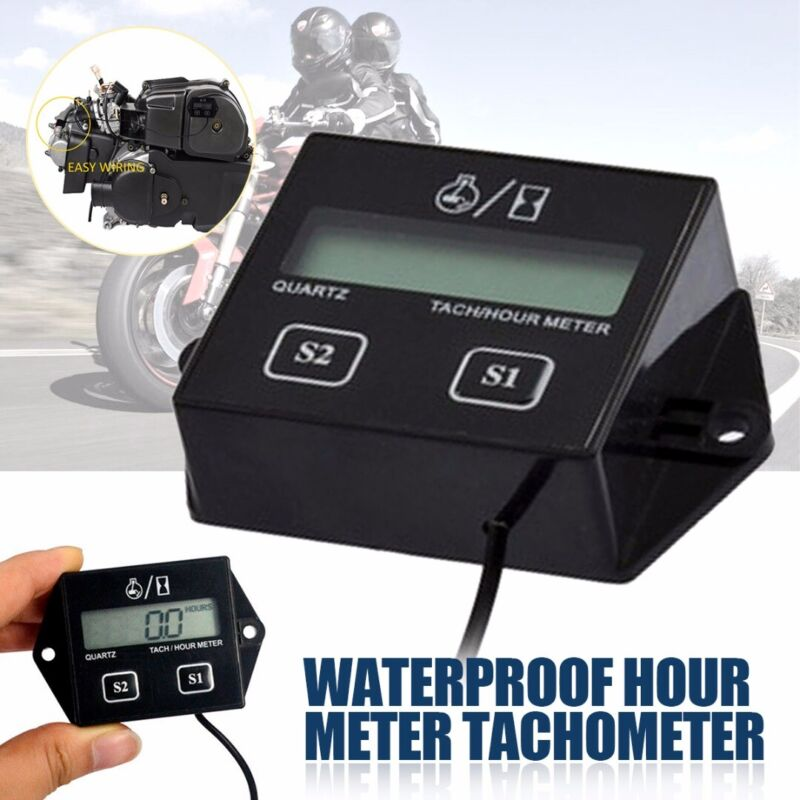 Digital Engine LCD Tachometer Hour Meter Inductive for Motor