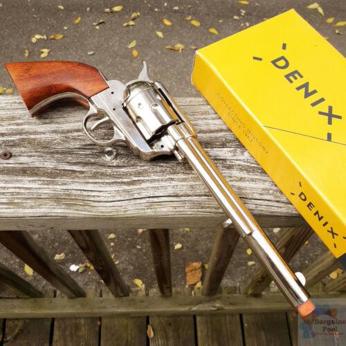 Denix 1873 Peacemaker Revolver Replica Simulated Fire Rotating Drum Nickel Wood