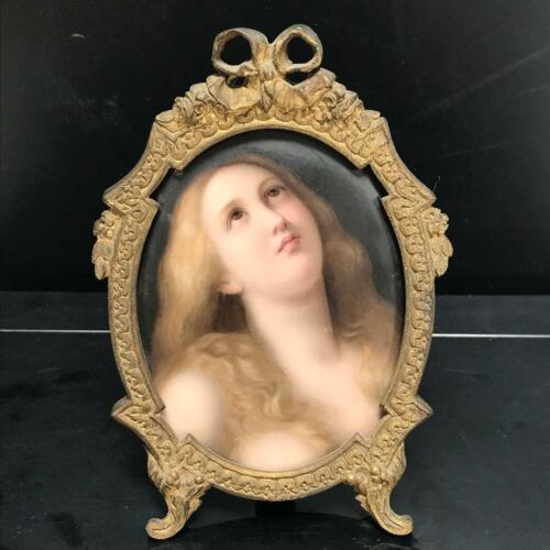 ANTIQUE PORCELAIN HAND PAINTED PORTRAIT-PLAQUE  of Mary Magdalene   FRAMED