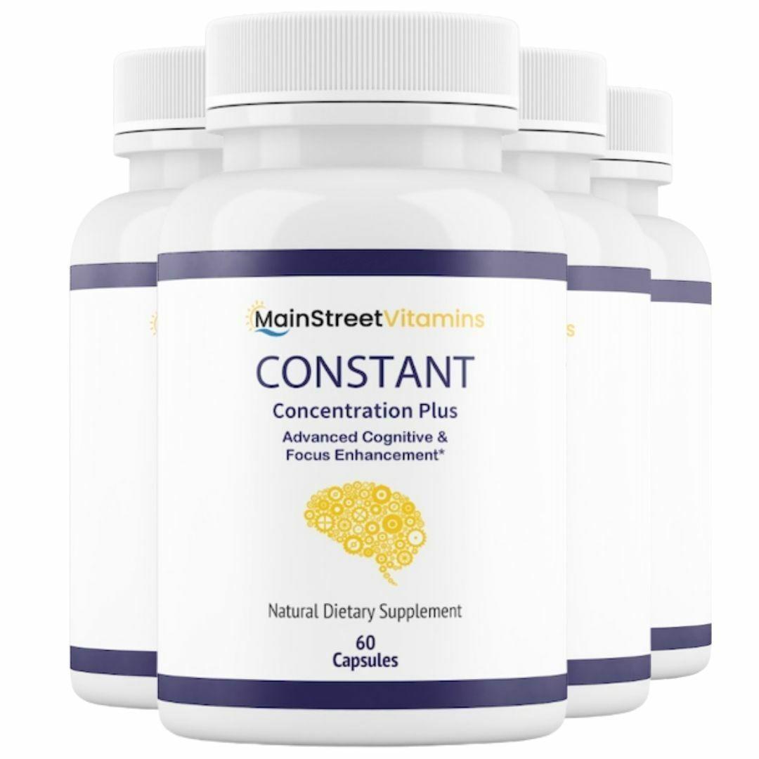 4 Bottles Constant Concentration Plus, Advanced IQ  60 Capsules x 4