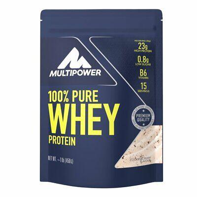 Power Protein Cookie (Multipower 100% Pure Whey wasserlösliches Protein Cookies & Cream 450g Beutel)