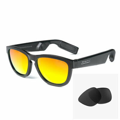ZUNGLE V2 VIPER Bone Conduction Bluetooth Sunglasses with one pair of Black lens