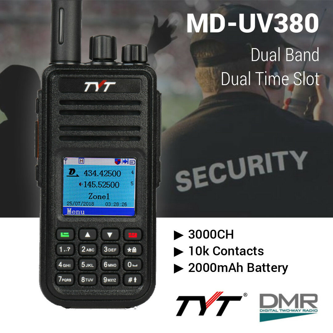 Details about TYT MD-UV380G DMR w/ GPS V/UHF Dual Band Tier I & II Two Way  Radio Transceiver