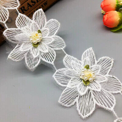 1 yd Flower Pearl Lace Trim Ribbon Applique Patch Embroidered Sewing Motif Craft Pearl Trim