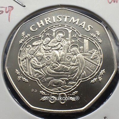 1993 IOM Xmas 50p Diamond Finish Coin with BB die marks
