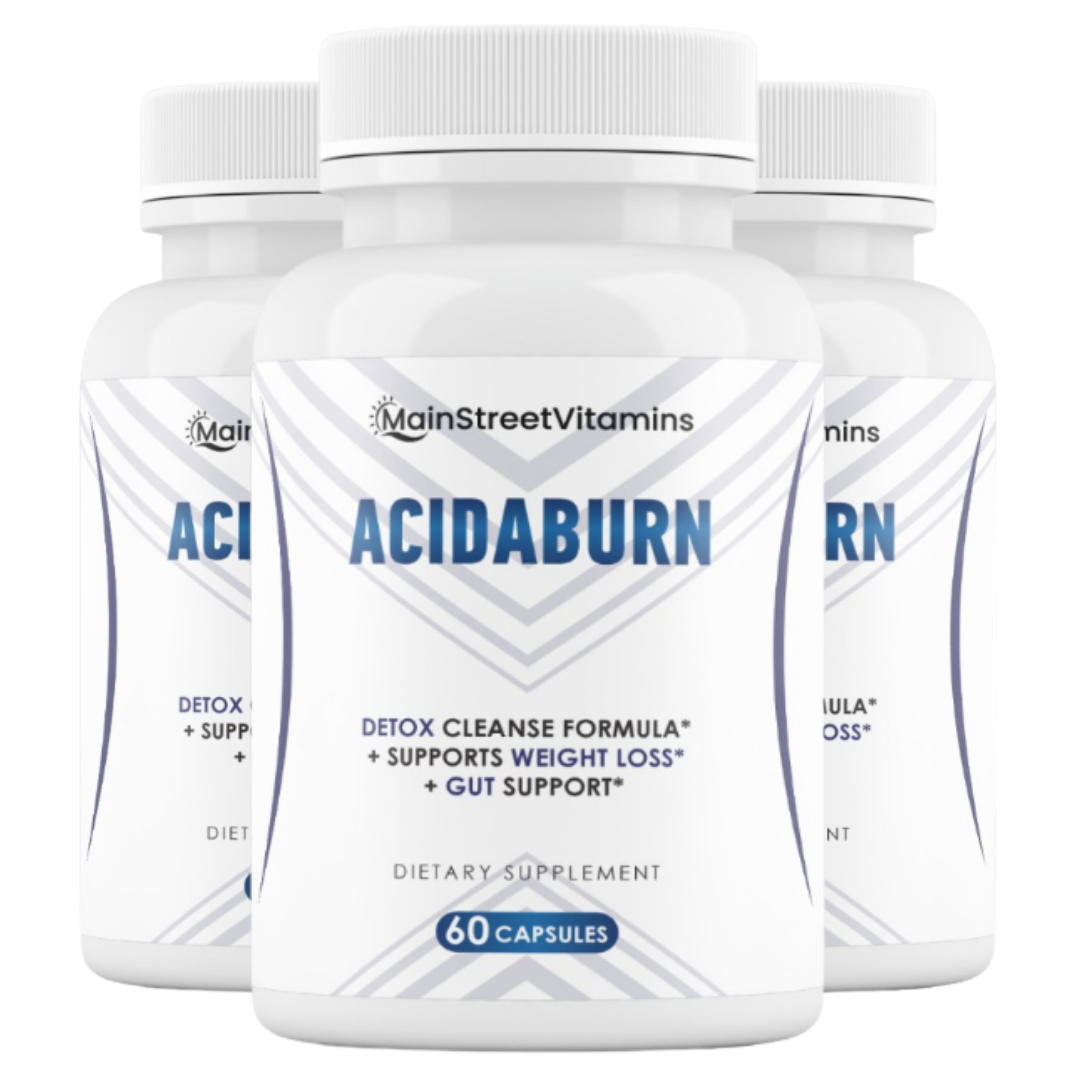 3 Bottles AcidaBurn Detox Cleanse, Weight Loss & Gut Health 60 capsules x 3