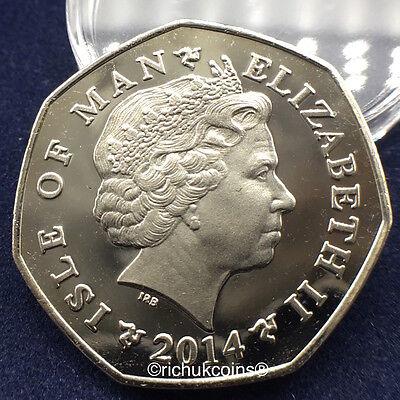 2014 IOM Xmas Colour-printed Diamond Finish 50p Coin