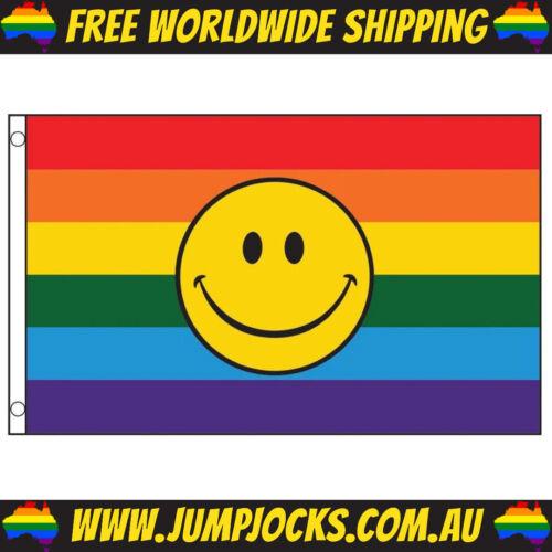 Rainbow Smiley Face Flag - LGBT, Gay, Pride, Lesbian *FREE WORLDWIDE SHIPPING*