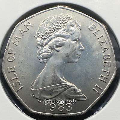 1983 T.T. Currency Type 50p Coin (AA AB AC AD die letters) Obverse