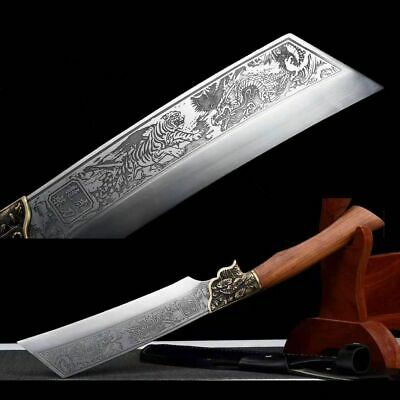 Chinese Kung Fu Sword Spring Steel Sharp WuShu Dao Broadsword Wild Hunting Knife