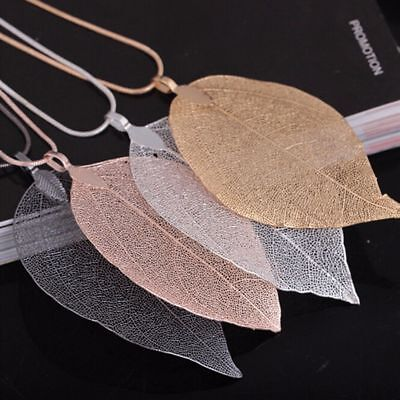 Real Long Leaf Leaves Pendant Sweater Chain Necklace Women Fashion Jewelry