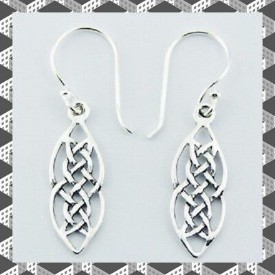 Sterling Silver celtic earrings marquise design dangle 37mm total drop irish new