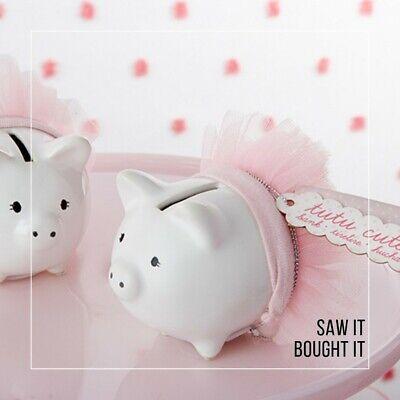 Kate Aspen Tutu Cute Ceramic Mini Piggy Bank, White