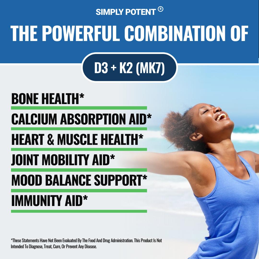 Vitamin D3 K2 (MK7) 90 Chewable Cherry Flavor Supplement for Bone & Heart Health 3