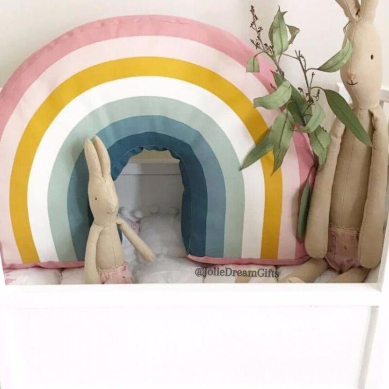 Pink Girly Girl Decorative Rainbow Pillow, Kids Soft Stuffed Cushion Room Decor
