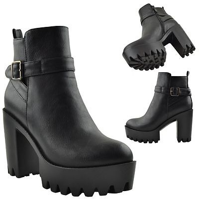 Chunky Heel Platform Booties (Womens Ankle Booties Platform Chunky Heel  w/ Buckle Strap Black or Brown Boots)