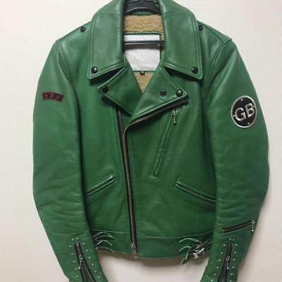 GB SKINS STUDDED RIDER'S JACKET MOTORCYCLE GREEN MEN S FASHION WARM WINTER RARE