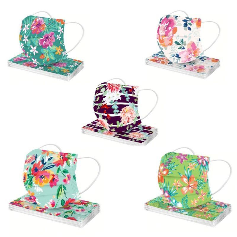 Printed Disposal Face Masks for Adults Flowers (1) Pack 5 Design 2 Each 10 Masks