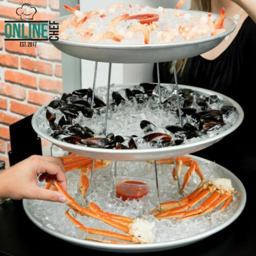 3-Tier LARGE Catering Seafood Tower Set Display with Aluminum Trays and Stands