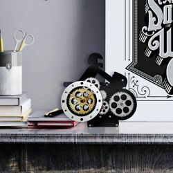 Moving Gear QuartzDeskClock in Gold and Silver Finishes by Center Design
