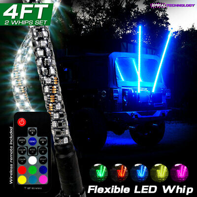 2x Dual 4FT LED RGB Color Whip Lights w/ Remote Control FOR ATV UTV RZR 4WD