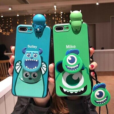 Set 3D Mike Sulley Doll Strap Holder Case Cover for Apple iPhone XS Max X 8 7 XR](Sulley X Mike)