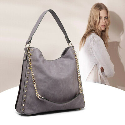 Ladies Studded Large Hobo Shoulder Bag Women PU Leather Handbag
