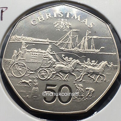 1980 IOM Xmas 50p Diamond Finish Coin with BD die marks