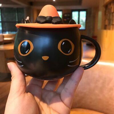 2021 New Starbucks Halloween Cat Mug Pumpkin Cup W/Cap Lid Black Coffee Mug Gift