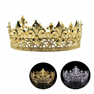 Men's Imperial Medieval Fleur De Lis King Crown Gold/Silver Plated Prom Party