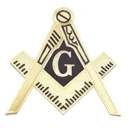 "10"" Masonic Logo Embroidered Patch Iron-on Square & Compass Crest Mason Emblem"