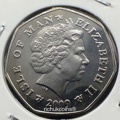 2009 IOM T.T. Currency 50p Coin with AA die letters