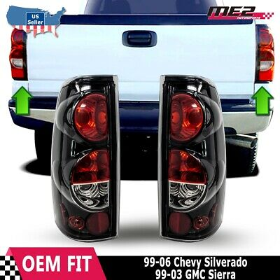 For 99-06 CHEVY SILVERADO 99-03 GMC SIERRA GlossBlack Clear Tail Light Lamp Set