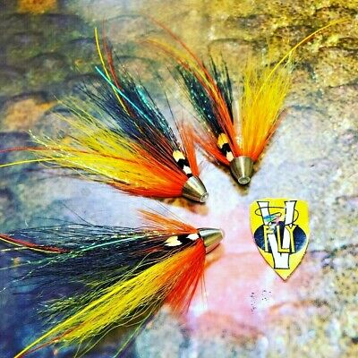 3 V Fly 1 Inch Black /& Yellow Francis Brass Salmon Tube Flies /& Treble Hooks