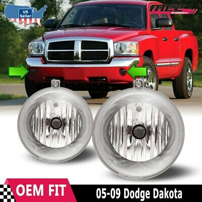 For  Dodge Dakota 05-09 Factory Bumper Replacement Fit Fog Lights Clear Lens 09 Factory Replacement