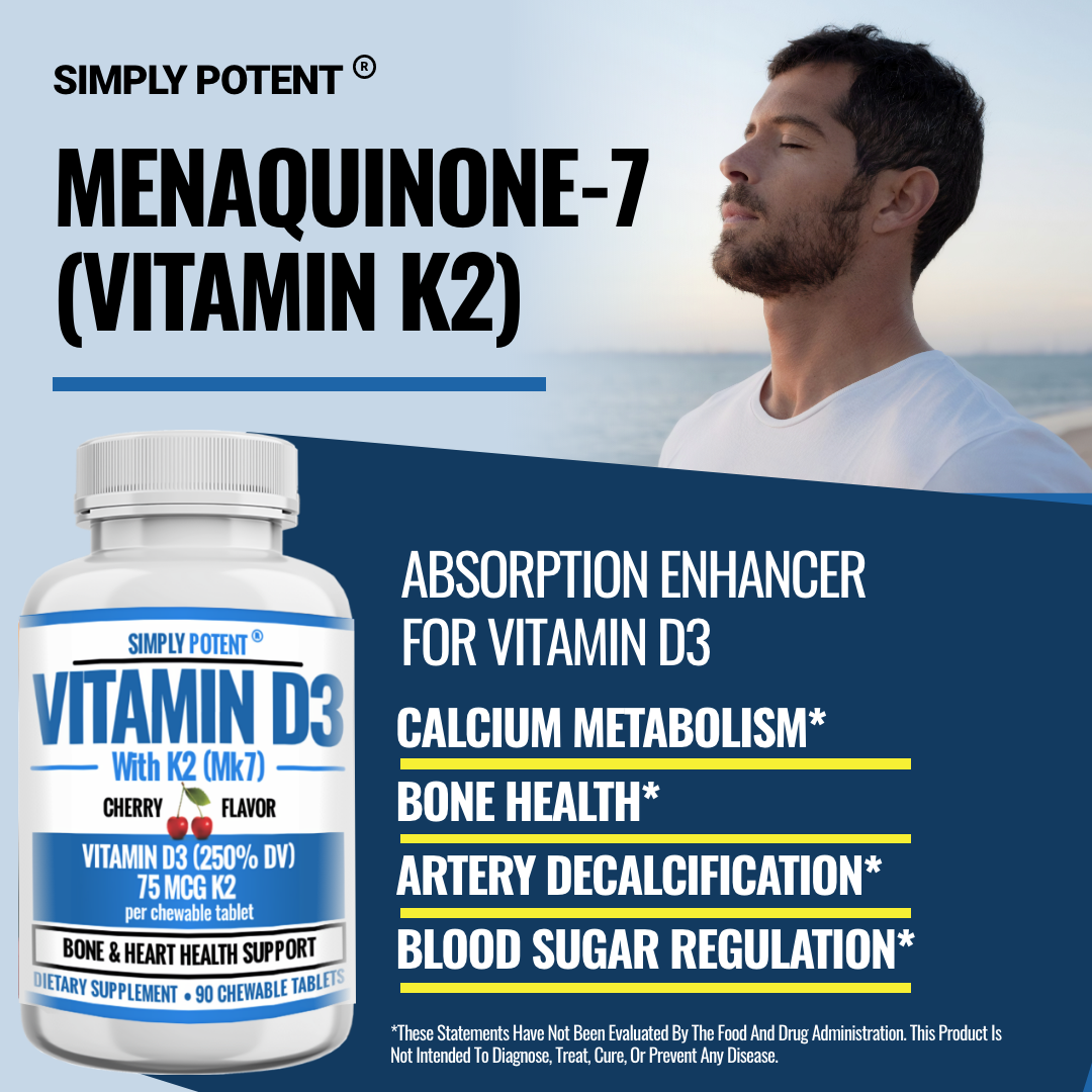 Vitamin D3 K2 (MK7) 90 Chewable Cherry Flavor Supplement for Bone & Heart Health 7