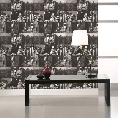 Fresco Great Value New York Statue Of Liberty Etc Black / White Wallpaper
