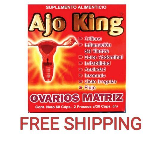 AJO KING OVARIOS, MATRIZ SUPLEMENTO ALIMENTICIO 60 CAPULAS 2 FRASCOS DE 30