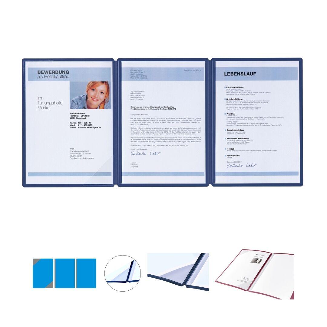 1 Pagna Square Bewerbungsmappe Blau 3-teilig Premium Bewerbungsmappen